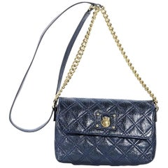 Metallic Blue Marc Jacobs Quilted Crossbody Bag