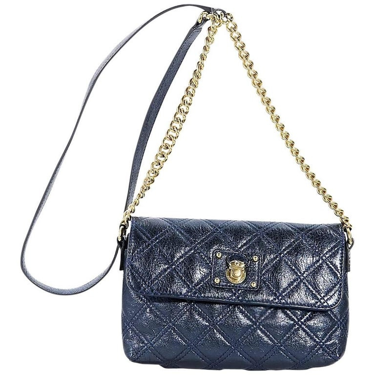 Metallic Blue Marc Jacobs Quilted Crossbody Bag For Sale At 1stdibs