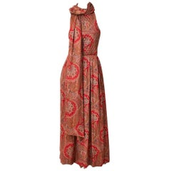 Carolyne Roehm Paisley Pattern Jumpsuit with Shawl