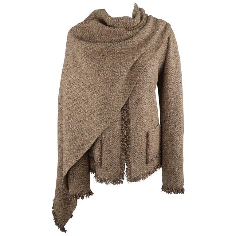 Ralph Lauren Taupe Wool / Cashmere Fringe 8 Jacket & Scarf - Retail $3,490.00