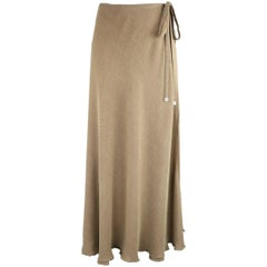 CHANEL 1999 Size 6 Beige Viscose Blend Wrap & Tie Maxi Skirt