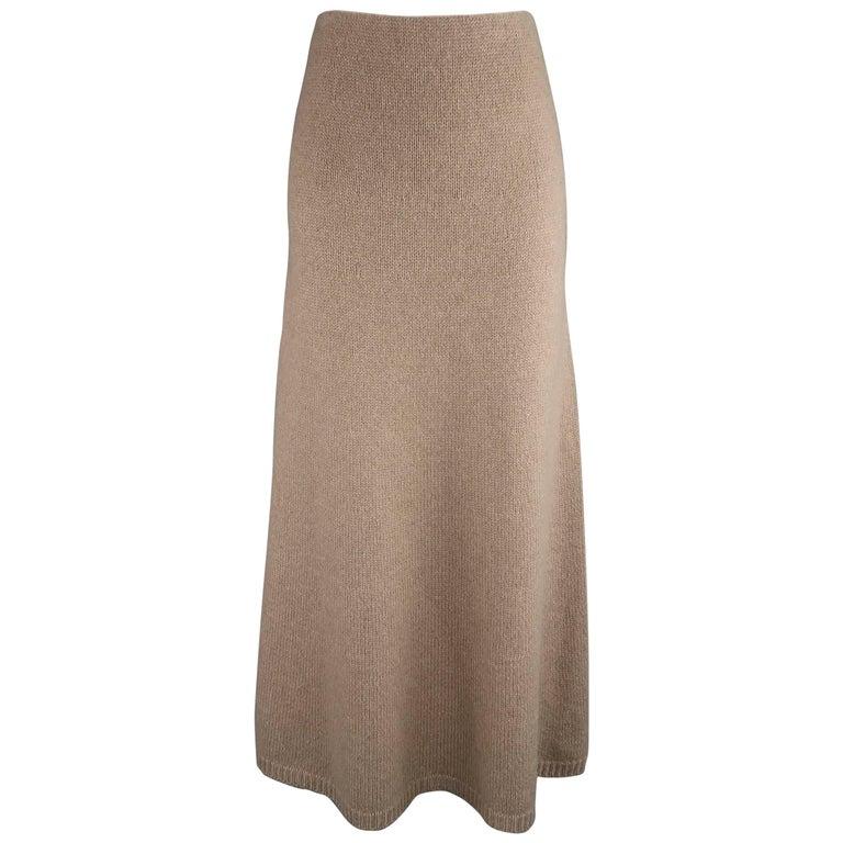 RALPH LAUREN Size M Taupe Cashmere Knit Flair Midi Skirt