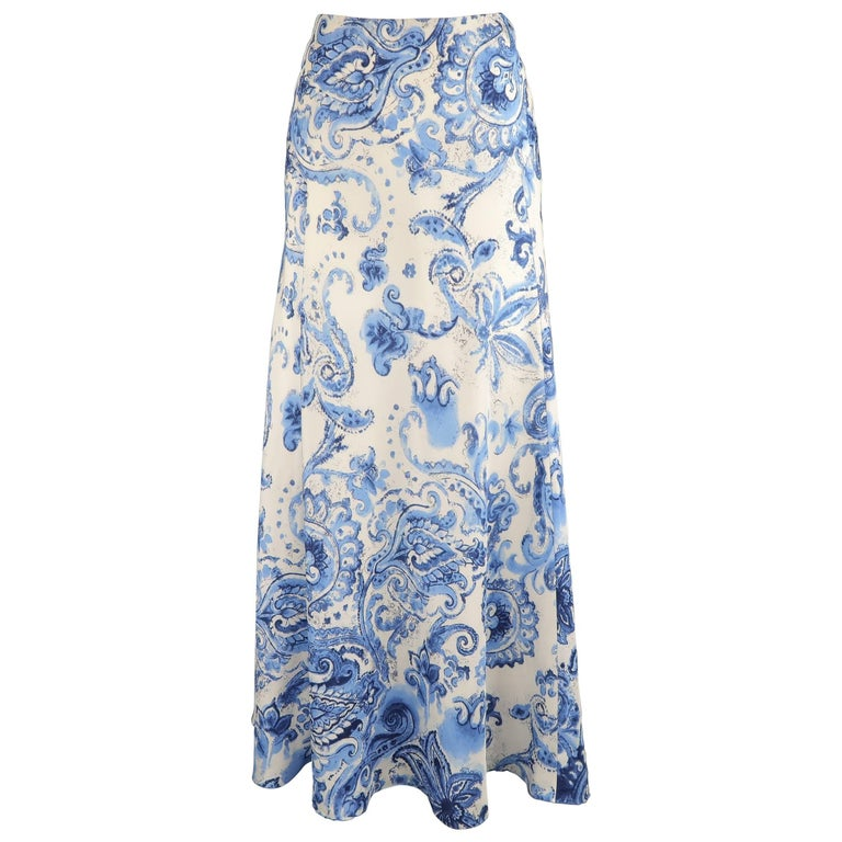 RALPH LAUREN Size 6 White & Blue Floral Paisley Silk A line Flair Maxi Skirt