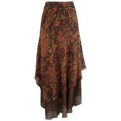 RALPH LAUREN Size 10 Brown & Red Paisley & Plaid Silk Layered Ruffle Skirt
