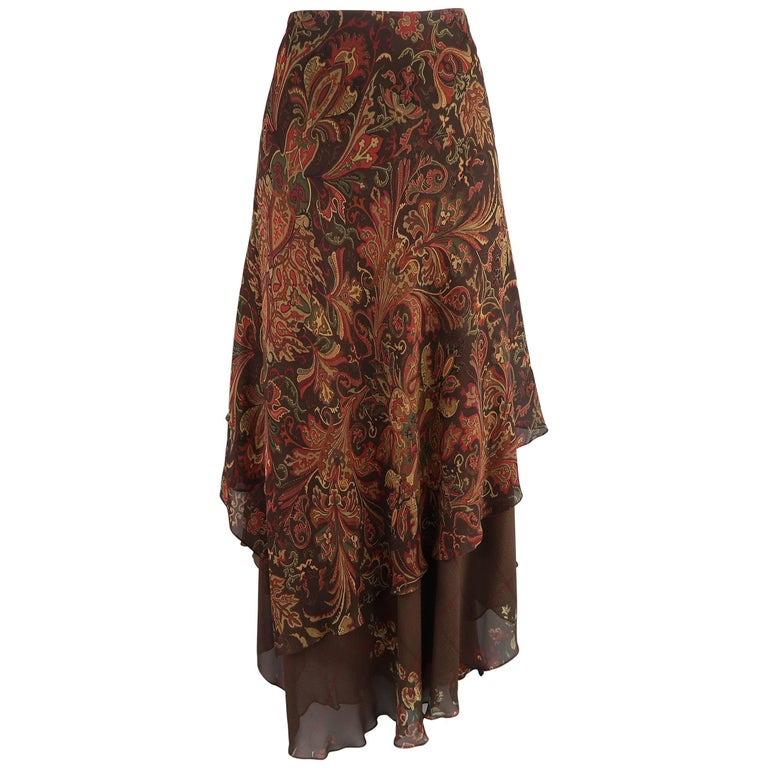 RALPH LAUREN Size 10 Brown & Red Paisley & Plaid Silk Layered Ruffle Skirt