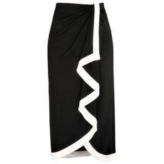 RALPH LAUREN Size 8 Black & White Viscose Blend Wrap Skirt