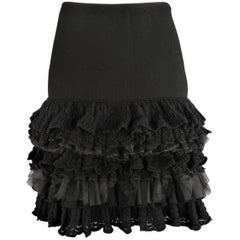RALPH LAUREN COLLECTION Size M Black Drop Waist Wool & Tulle Ruffle Skirt