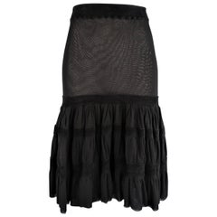 JEAN PAUL GAULTIER Size M Black Mesh Velour Trim Drop Waist Ruffle Skirt