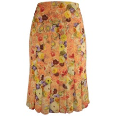 Chanel Orange Floral Print Silk Chiffon Pleated Skirt, 2004
