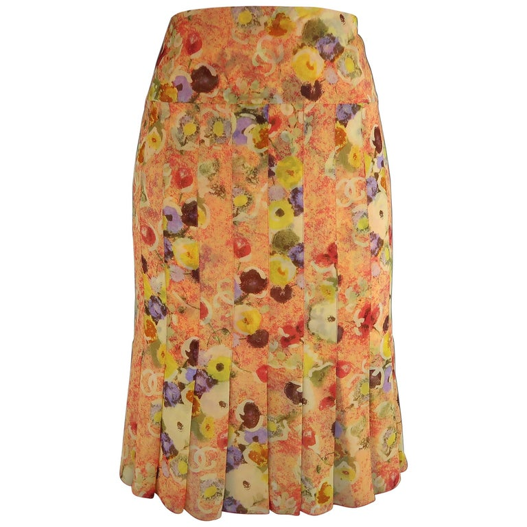 Chanel Orange Floral Print Silk Chiffon Pleated Skirt, 2004  For Sale