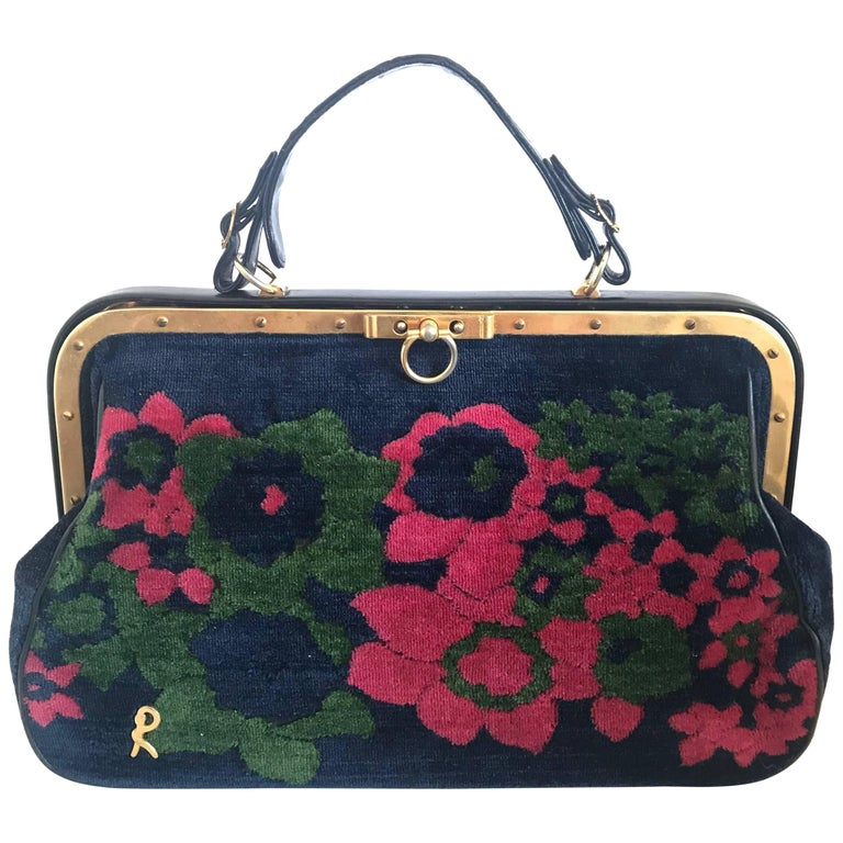 Vintage Roberta di Camerino red, green, and navy doctor bag with flower.