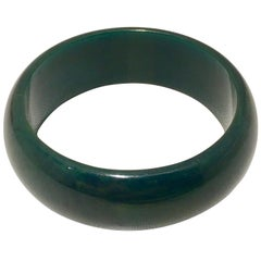 1930'S Bakelite Hunter Green Large Bangle Bracelet