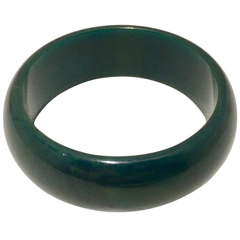 1930'S Bakelite Hunter Green Large Bangle Bracelet For Sale