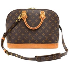 Louis Vuitton Alma Monogram Canvas Hand Bag + Strap