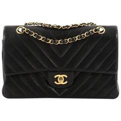 Chanel Vintage Classic Double Flap Bag Chevron Lambskin Medium