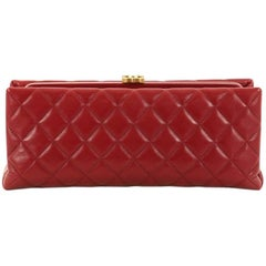 Chanel CC Clasp Frame Clutch Quilted Lambskin Long