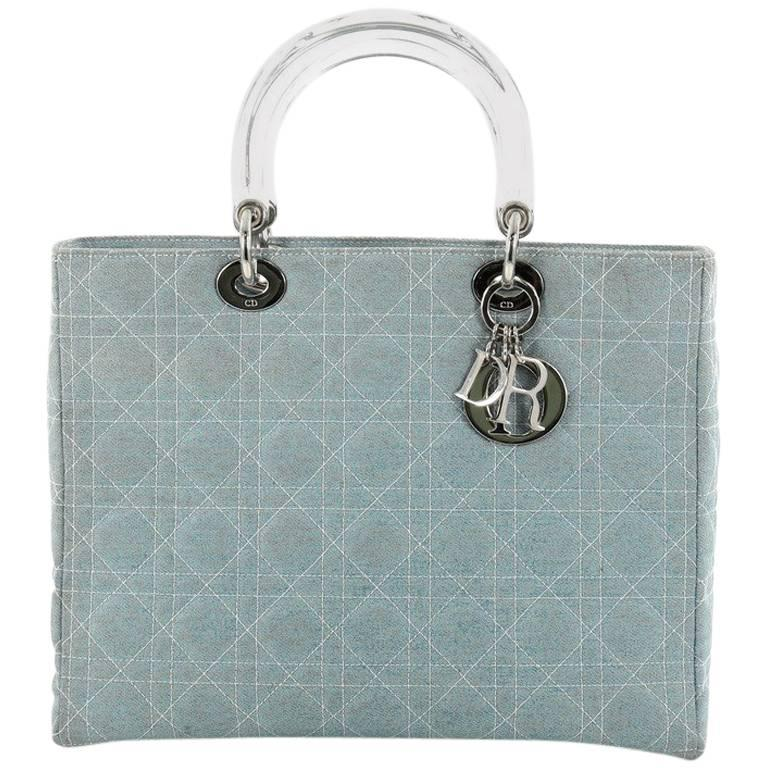 Christian Dior Vintage Lady Dior Handbag Cannage Quilt Denim Large For Sale 2bcfbbac3e100