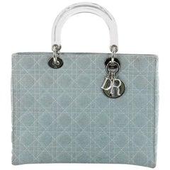 Christian Dior Vintage Lady Dior Handbag Cannage Quilt Denim Large