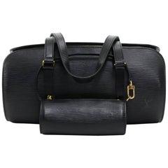 Vintage Louis Vuitton Soufflot Black Epi Leather Hand Bag + Pouch