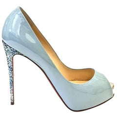 Louboutin 12 Centimeters Glitter Heel light blue ''Patent'' Shoes