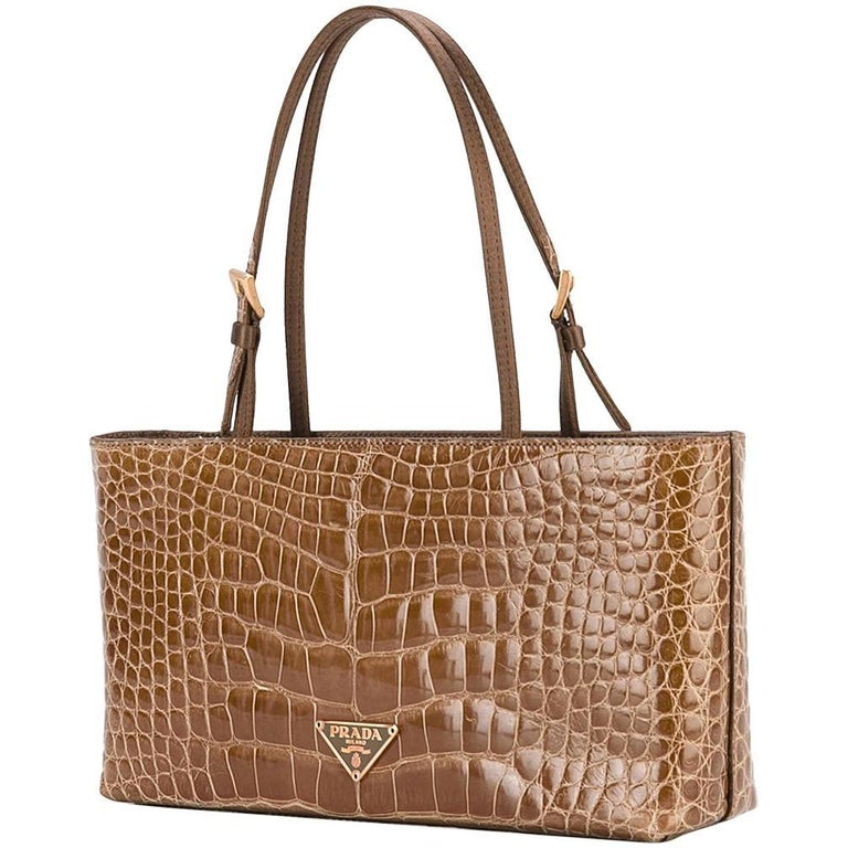 1008528207 Prada Brown Crocodile Leather Vintage Bag