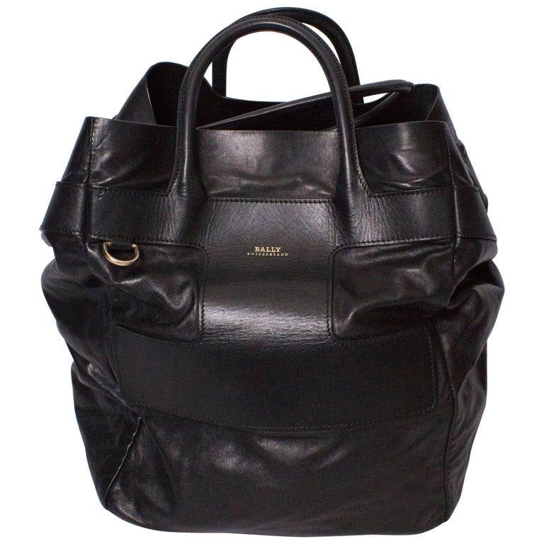 Bally Black Leather Bucket Bag At 1stdibs