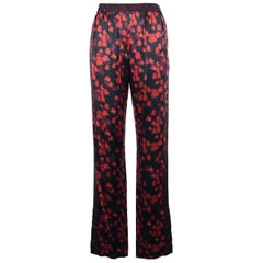 Givenchy Womens Red Floral Print Split Edge Track Pants