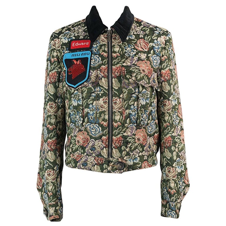 300dc2bf02c2 Miu Miu Womens Multi Cotton Blend Floral Jacquard Bomber Jacket For Sale
