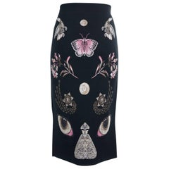 Alexander McQueen Women's Black Wool Blend Butterfly Long Skirt