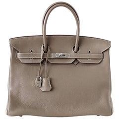 Hermes Birkin 35 Bag Etoupe Clemence Palladium Hardware