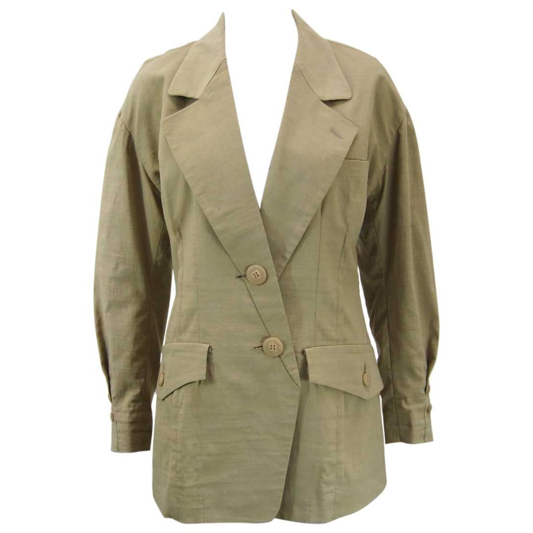 Vintage Issey Miyake Khaki Linen Blazer Jacket