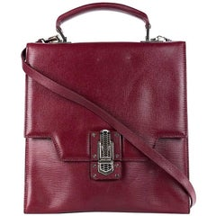 Roberto Cavalli Red Leather Silver Push Lock Messenger Bag