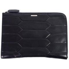 Roberto Cavalli Black Leather Large Zip Around Laptop Bag