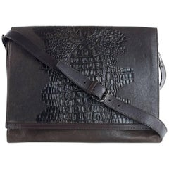 Roberto Cavalli Brown Texture Embossed Flap Leather Messenger Bag