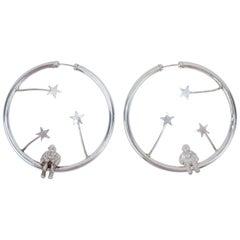 1980's Sterling Silver Astronauts & Stars Hoop Earrings
