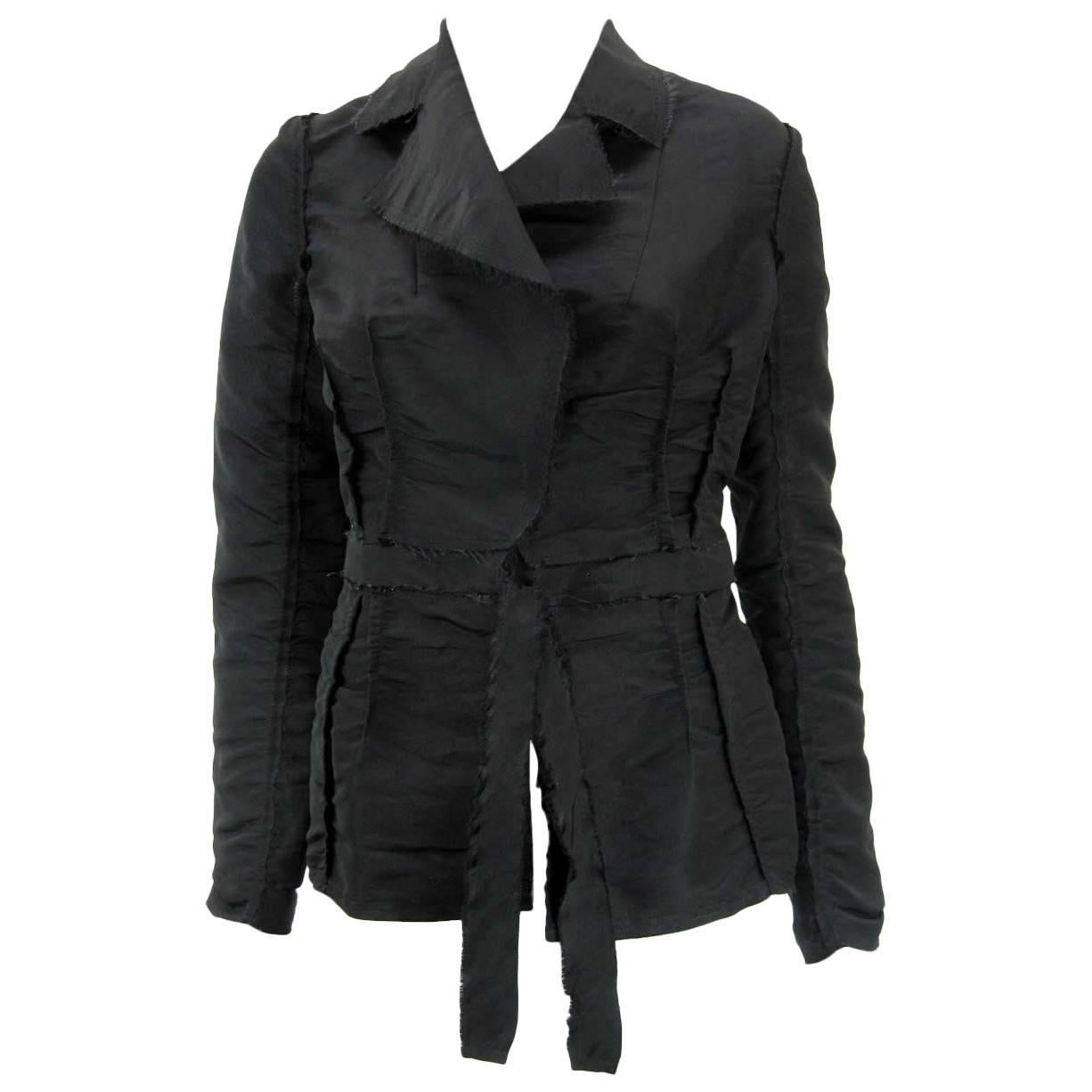 Lanvin 2005 Textured Taffeta Frayed Silk Wrap Jacket