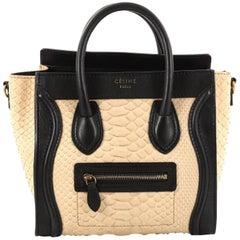 Celine Luggage Handbag Python and Leather Nano