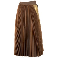 Sacai Womens Tan Brown Wool Gold Insert Pleated Skirt