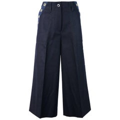 Sacai Womens Navy Wool Grommet Canvas Trim Pockets Culottes