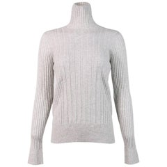 Maison Margiela Heather Grey Wool Blend Rib-Knit Turtleneck Sweater