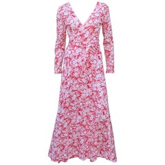 1970's Diane Von Furstenberg Tropical Floral Maxi Wrap Dress