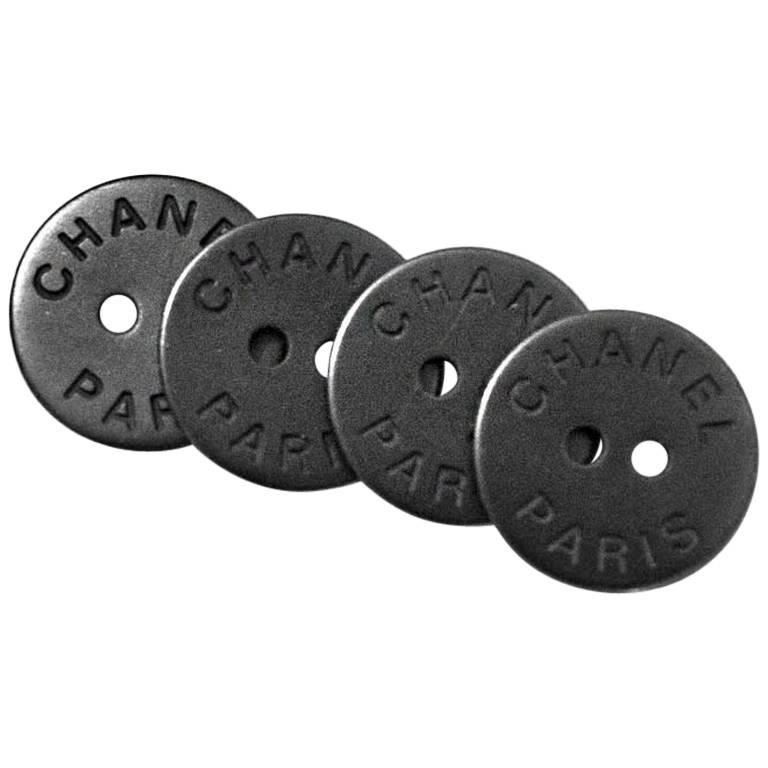 Chanel Gunmetal CHANEL PARIS Buttons