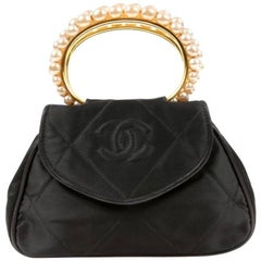 Chanel Black Small Three Pearl Kelly Top Handle Satchel Evening Flap Bag W/Box