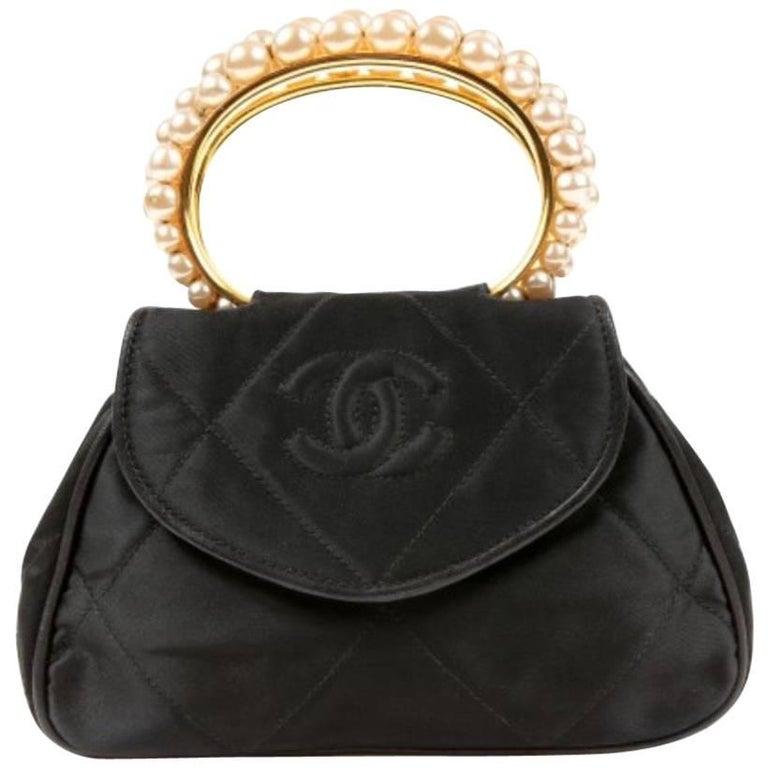 Chanel Black Small Three Pearl Kelly Top Handle Satchel Evening Flap Bag  W Box For 979f88c1f0