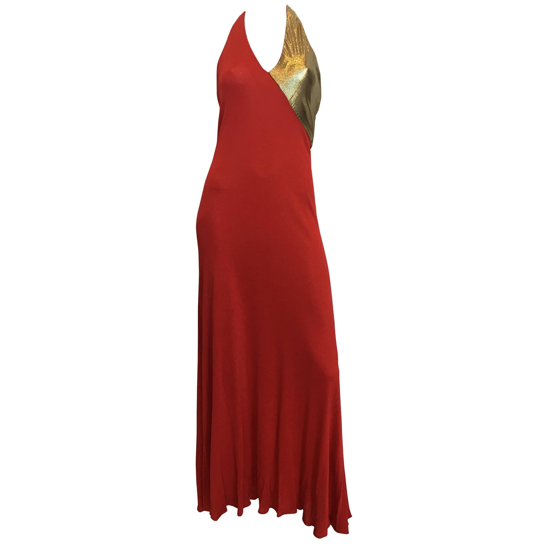 Giorgio Sant'Angelo 1970's Red Jersey Halter Dress