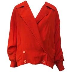 Kansai Yamamoto Red Silk Jacket, 1980s