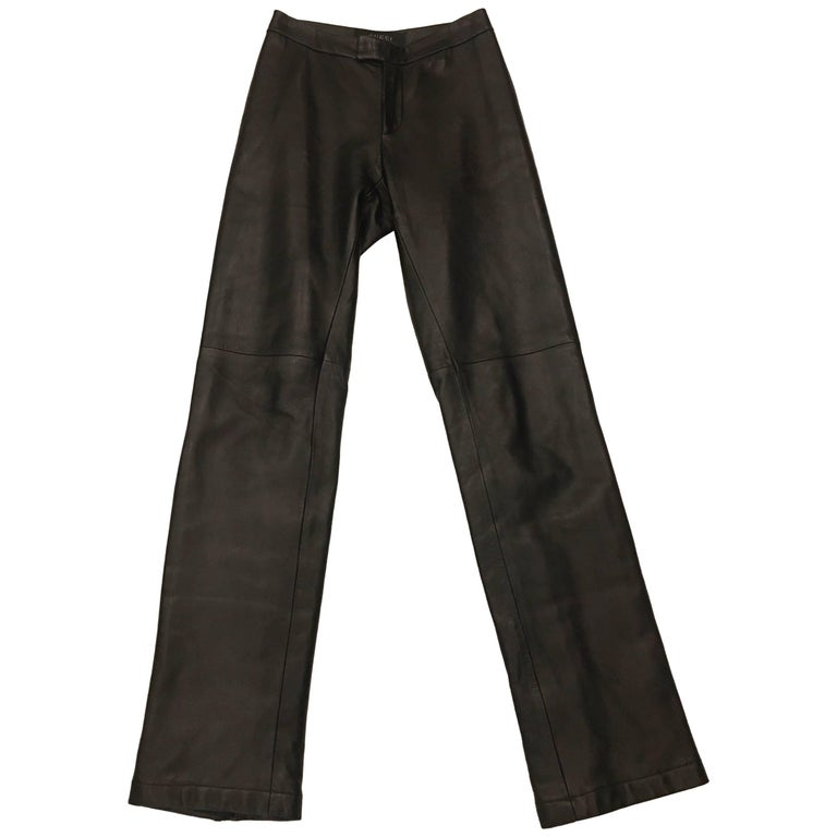 Gucci Contemporary Heavy Duty Brown Leather Zip Flares