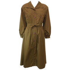 Carol Cohen for Braefair Army Green Belted Trench Coat, 1970s