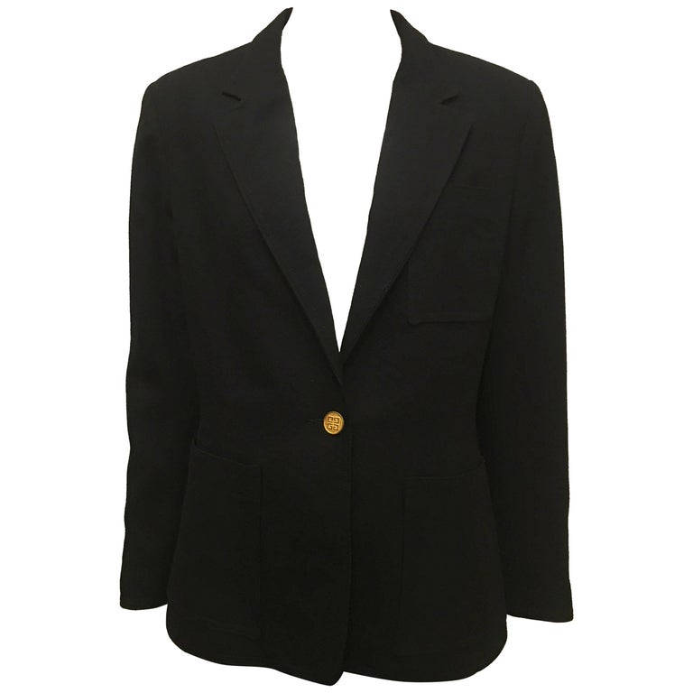 Givenchy Black Wool Single Button Blazer, 1990s