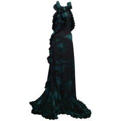 Gucci Black And Green Tropical Print Silk Satin Gown with Side Slit Sz42 (Us6)